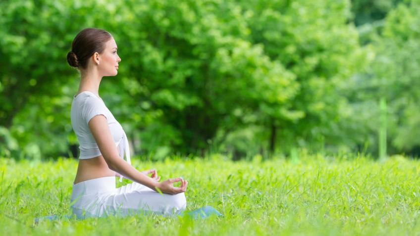Girl in zen pose