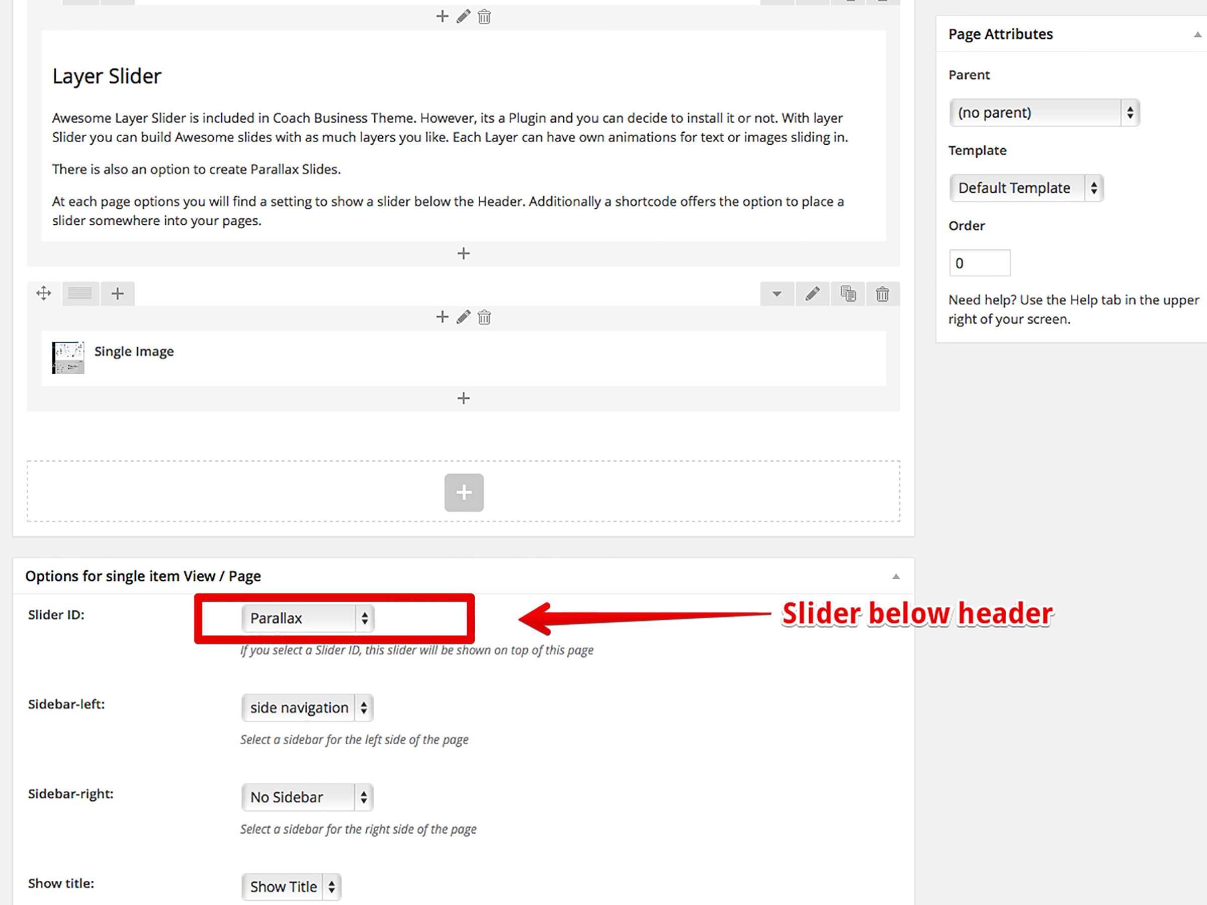 Slider setting in Page options
